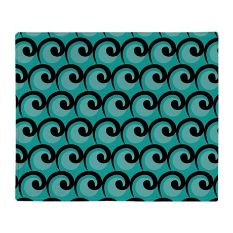 Art Deco Teal Waves Throw Blanket