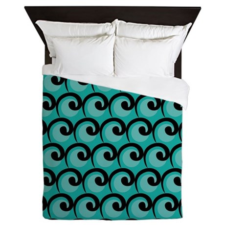 Art Deco Teal Waves Queen Duvet