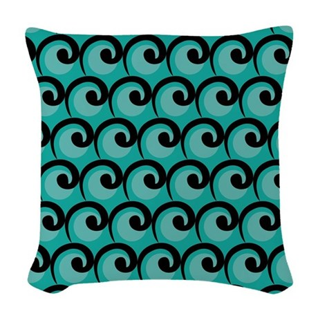 Art Deco Teal Waves Woven Throw Pillow