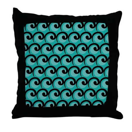 Art Deco Teal Waves Throw Pillow