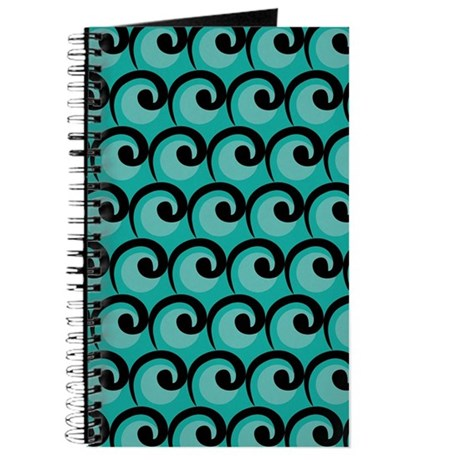 Art Deco Teal Waves Journal