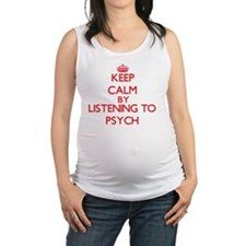 Cute I love psych Maternity Tank Top