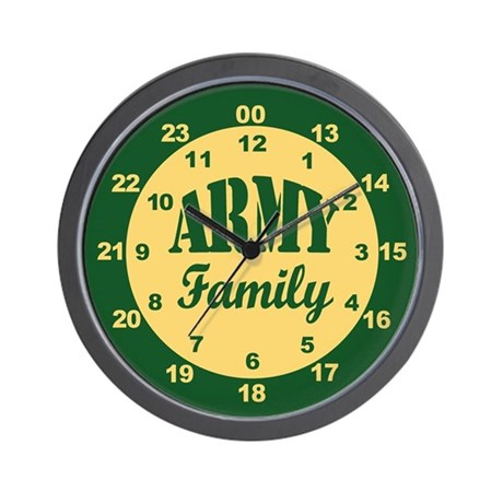 Army family 24 hour military time wall clock