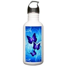 Butterflies on Blue Water Bottle