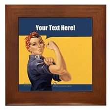 CUSTOM TEXT Vintage Rosie Framed Tile