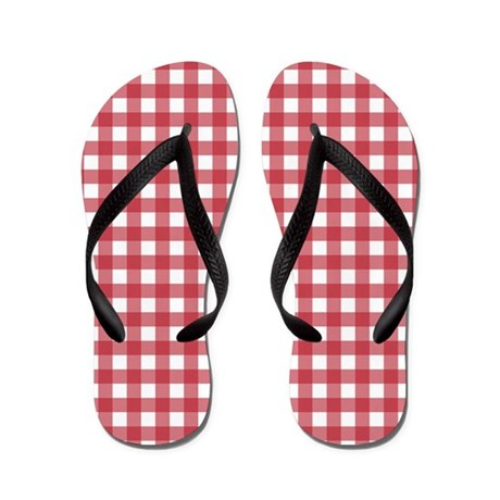 Gingham Checked Red Flip Flops