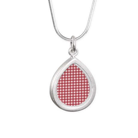 Gingham Checked Red Silver Teardrop Necklace