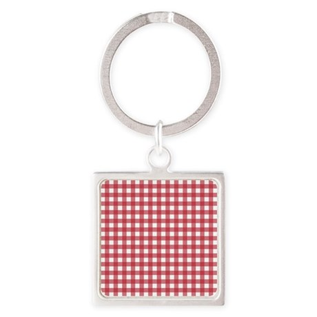 Gingham Checked Red Square Keychain