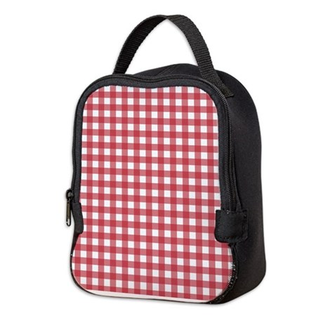 Gingham Checked Red Neoprene Lunch Bag