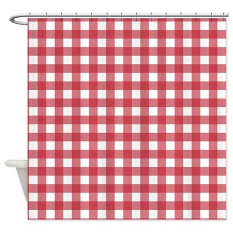 Gingham Checked Red Shower Curtain