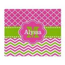 Pink Green Quatrefoil Chevron Personalized Throw B