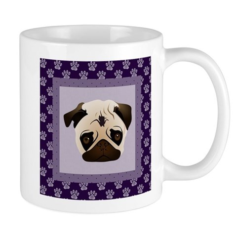 Pugs on Purple Paw Prints Mug