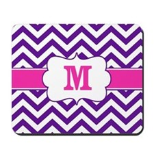 Purple Pink Chevron Monogram Mousepad