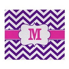 Purple Pink Chevron Monogram Throw Blanket