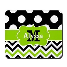 Black Green Dots Chevron Personalized Mousepad