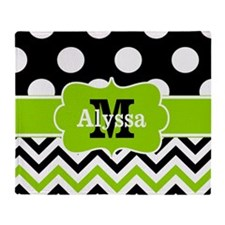 Black Green Dots Chevron Personalized Throw Blanke