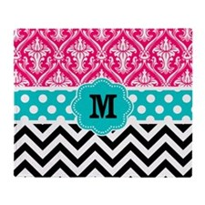 Pink Teal Black Chevron Damask Monogram Throw Blan