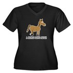 A Horse Says Neigh Women's Plus Size V-Neck Dark T