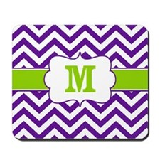 Purple Green Chevron Monogram Mousepad