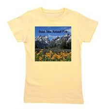 Grand Teton Mountains with Yellow Flowers Girl's T
