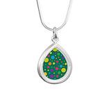 Polka Dots Rainbow Silver Teardrop Necklace