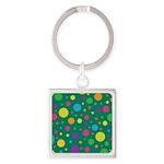 Polka Dots Rainbow Square Keychain