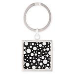 Polka Dot Black White Square Keychain