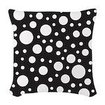 Polka Dot Black White Woven Throw Pillow