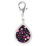 Polka dots pink purple Silver Teardrop Charm