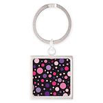 Polka dots pink purple Square Keychain