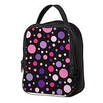 Polka dots pink purple Neoprene Lunch Bag