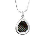 Polka Dots Blue Green Silver Teardrop Necklace