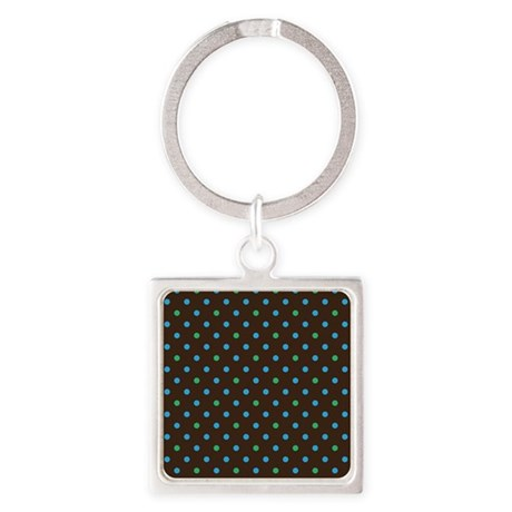 Polka Dots Blue Green Square Keychain