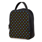 Polka Dots Blue Green Neoprene Lunch Bag
