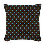 Polka Dots Blue Green Woven Throw Pillow