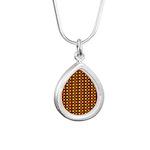 Polka Dots (Orange) Silver Teardrop Necklace