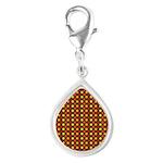 Polka Dots (Orange) Silver Teardrop Charm