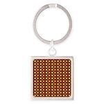Polka Dots (Orange) Square Keychain