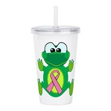 pink ribbon froggy.png Acrylic Double-wall Tumbler