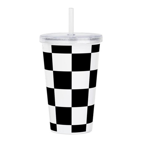 Checkerboard Black Whi Acrylic Double-wall Tumbler