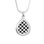 Checkerboard Black White Silver Teardrop Necklace