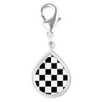 Checkerboard Black White Silver Teardrop Charm