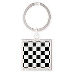 Checkerboard Black White Square Keychain