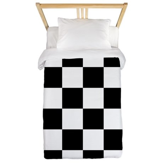 Checkerboard Black White Twin Duvet