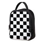 Checkerboard Black White Neoprene Lunch Bag