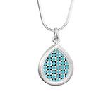 Geometric Checkerboard Silver Teardrop Necklace