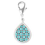 Geometric Checkerboard Silver Teardrop Charm