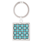 Geometric Checkerboard Square Keychain