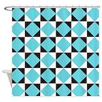 Geometric Checkerboard Shower Curtain