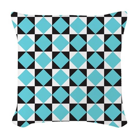 Geometric Checkerboard Woven Throw Pillow